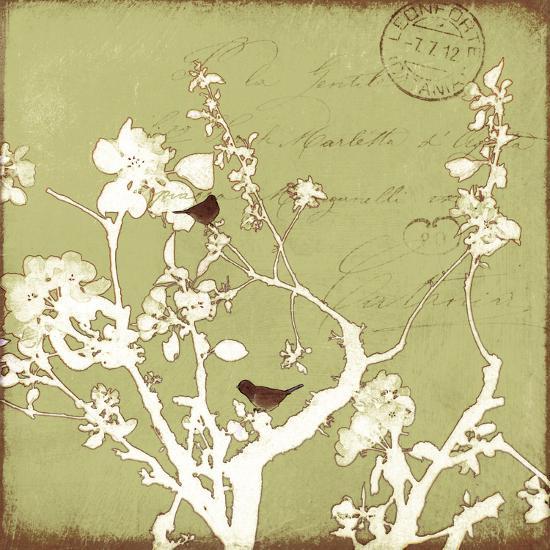 Song Birds II - Green-Amy Melious-Premium Giclee Print