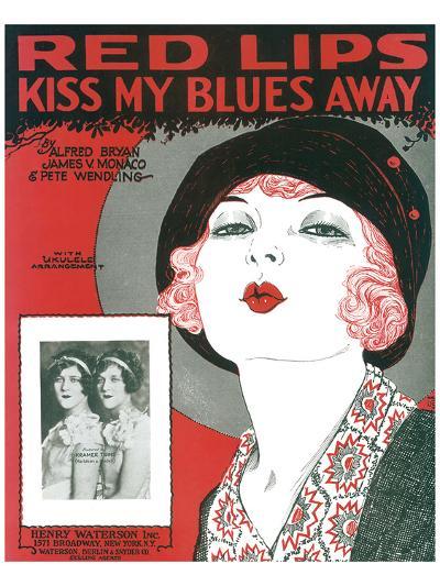 Song Sheet Cover: Red Lips Kiss My Blues Away--Art Print