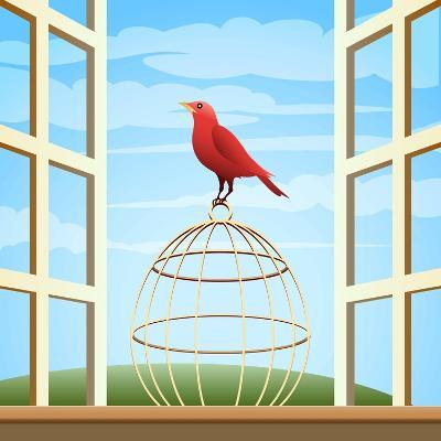 Songbird Sitting on a Cage in Open Window-Olena Bogadereva-Art Print