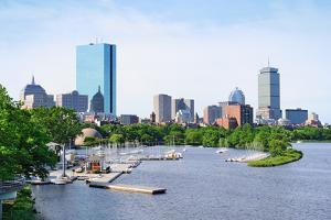 Boston Back Bay with Sailing Boat and Urban Building City Skyline in the Morning. by Songquan Deng