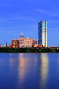 Boston Charles River at Dusk with Urban City Skyline and Light Reflection by Songquan Deng