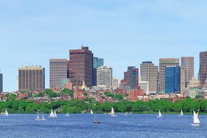 Boston Charles River Panorama with Urban Skyline Skyscrapers and Sailing Boat. by Songquan Deng