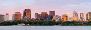 Boston Charles River Sunset Panorama with Urban Skyline and Skyscrapers by Songquan Deng