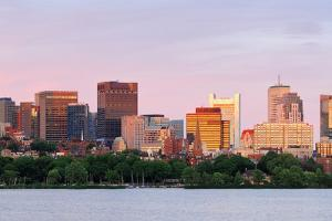 Boston Charles River Sunset with Urban Skyline and Skyscrapers by Songquan Deng