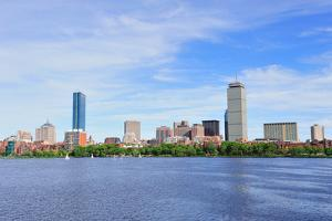 Boston Charles River with Urban City Skyline Skyscrapers and Boats with Blue Skyr. by Songquan Deng