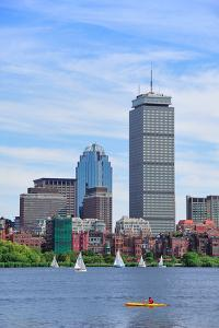 Boston City Skyline with Prudential Tower and Urban Skyscrapers over Charles River. by Songquan Deng