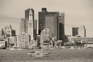 Boston Downtown Architecture Closeup in Black and White over Sea. by Songquan Deng