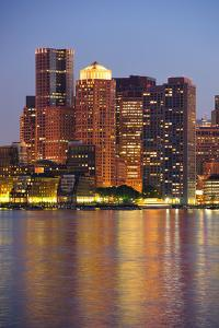 Boston Downtown at Dusk with Urban Buildings Illuminated at Dusk after Sunset. by Songquan Deng