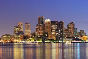Boston Downtown Skyline Panorama with Skyscrapers over Water with Reflections at Dusk Illuminated W by Songquan Deng