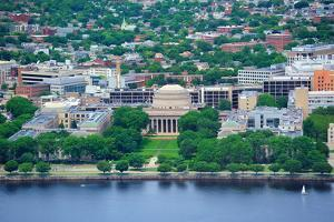 Boston Massachusetts Institute of Technology Campus with Trees and Lawn Aerial View with Charles Ri by Songquan Deng