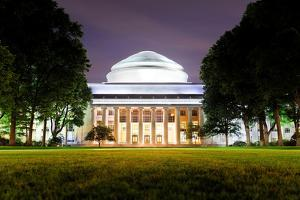 Boston Massachusetts Institute of Technology Campus with Trees and Lawn at Night by Songquan Deng