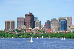 Boston Skyline over Charles River with Sailing Boat. by Songquan Deng