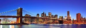 Brooklyn Bridge with New York City Manhattan Downtown Skyline Panorama at Dusk Illuminated over Eas by Songquan Deng
