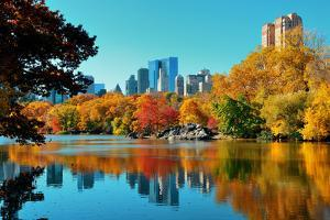 Central Park Autumn and Buildings Reflection in Midtown Manhattan New York City by Songquan Deng