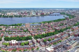 Charles River Aerial View Panorama with Boston Midtown City Skyline and Cambridge District. by Songquan Deng