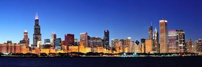 Chicago City Downtown Urban Skyline Panorama at Dusk with Skyscrapers over Lake Michigan with Clear