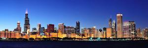 Chicago City Downtown Urban Skyline Panorama at Dusk with Skyscrapers over Lake Michigan with Clear by Songquan Deng