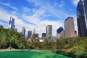 Chicago City Downtown Urban Skyline with Skyscrapers and Cloudy Blue Sky over Park. by Songquan Deng