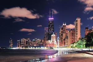 Chicago City Urban Skyscraper at Night at Downtown Lakefront Illuminated with Lake Michigan and Wat by Songquan Deng
