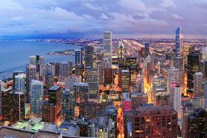 Chicago Skyline Panorama Aerial View with Skyscrapers over Lake Michigan with Cloudy  Sky at Dusk. by Songquan Deng