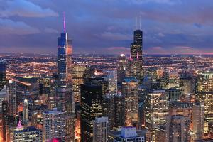 Chicago Skyline Panorama Aerial View with Skyscrapers with Cloudy  Sky at Dusk. by Songquan Deng