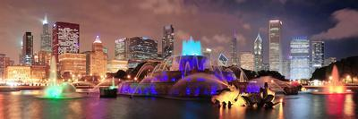 Chicago Skyline Panorama with Skyscrapers and Buckingham Fountain in Grant Park at Night Lit by Col