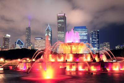 Chicago Skyline with Skyscrapers and Buckingham Fountain in Grant Park at Night Lit by Colorful Lig