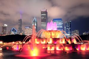 Chicago Skyline with Skyscrapers and Buckingham Fountain in Grant Park at Night Lit by Colorful Lig by Songquan Deng