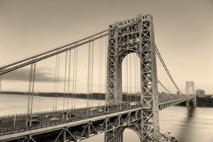 George Washington Bridge Black and White over Hudson River. by Songquan Deng