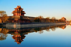 Imperial Palace over Lake in the Morning in Beijing. by Songquan Deng