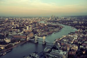 London Rooftop View Panorama at Sunset with Urban Architectures and Thames River. by Songquan Deng