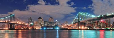 Manhattan Bridge and Brooklyn Bridge Panorama over East River at Night in New York City Manhattan W