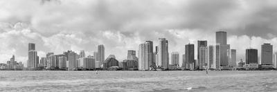 Miami Skyline Panorama in Black and White in the Day with Urban Skyscrapers and Cloudy Sky over Sea