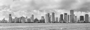 Miami Skyline Panorama in Black and White in the Day with Urban Skyscrapers and Cloudy Sky over Sea by Songquan Deng