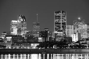 Montreal over River at Dusk with City Lights and Urban Buildings in Black and White by Songquan Deng