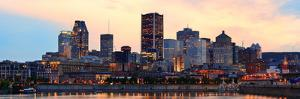 Montreal over River Panorama at Dusk with City Lights and Urban Buildings by Songquan Deng