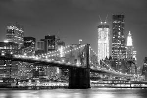New York City Brooklyn Bridge Black and White with Downtown Skyline over East River. by Songquan Deng