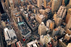 New York City Manhattan Aerial Skyline Panorama View with Skyscrapers and Office Buildings on Stree by Songquan Deng