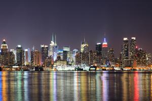 New York City Manhattan Midtown Skyline at Night with Lights Reflection over Hudson River Viewed Fr by Songquan Deng