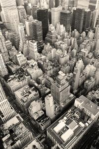 New York City Manhattan Skyline Aerial View Black and White with Skyscrapers and Street by Songquan Deng