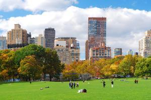 New York City Manhattan Skyline Panorama Viewed from Central Park with Cloud and Blue Sky and Peopl by Songquan Deng