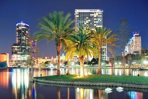 Orlando Downtown Skyline Panorama over Lake Eola at Night with Urban Skyscrapers, Tropic Palm Tree by Songquan Deng