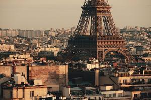 Paris Rooftop View Skyline and Eiffel Tower in France. by Songquan Deng