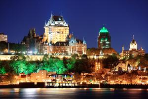 Quebec City Skyline at Dusk over River Viewed from Levis. by Songquan Deng