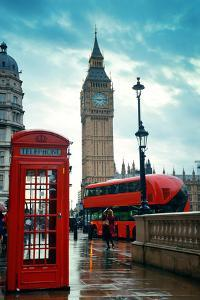 Red Telephone Box and Big Ben in Westminster in London. by Songquan Deng