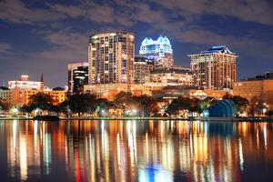 Urban Architecture with Orlando Downtown Skyline over Lake Eola at Dusk by Songquan Deng
