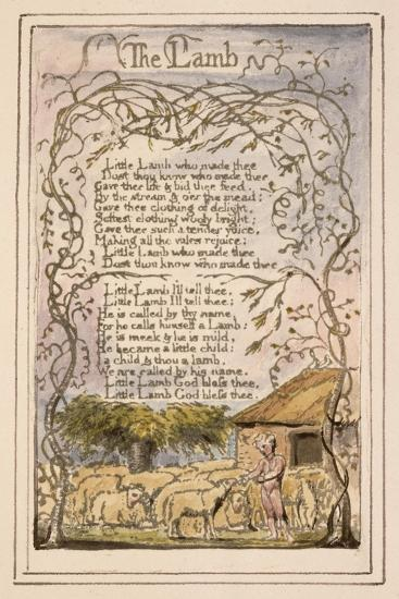 Songs of Innocence and of Experience Plate 7: the Lamb, C.1789-94-William Blake-Giclee Print