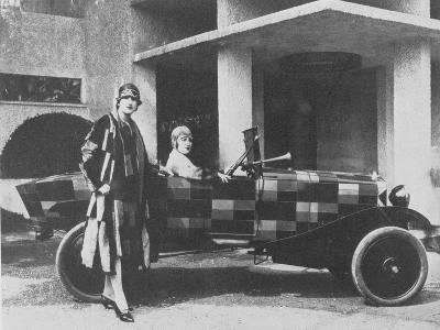 Sonia Delaunay and Her Matching Decorated Citroen B12, 1925--Photographic Print