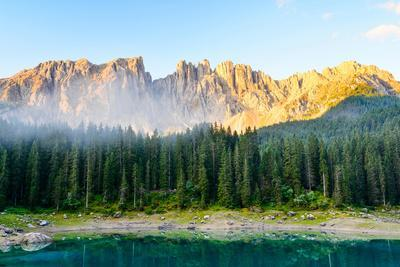 Karersee Lake, Front of Latemar, Dolomites