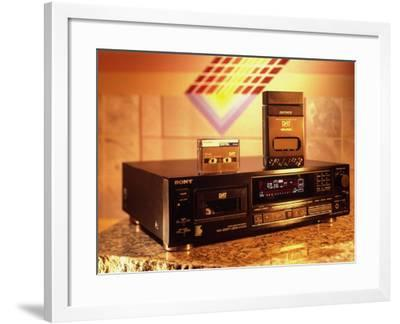 Sony's Dat Tape Deck, Walkman Portable Cassette Player and Blank Dat Cassette-Ted Thai-Framed Photographic Print